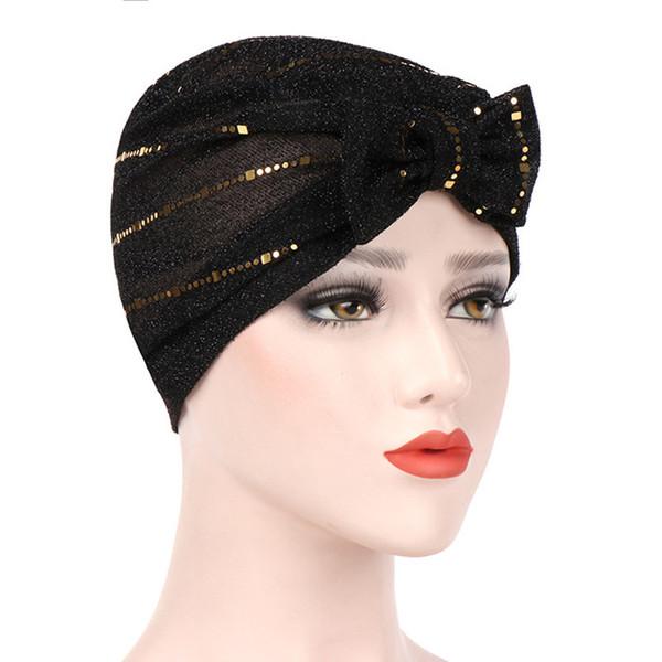 New Women Muslim Bow Hat Bright Silk Spandex Strech Ruffle Chemo Hat Beanie Turban Cap Headwear for Cancer Patients Hair Accessories