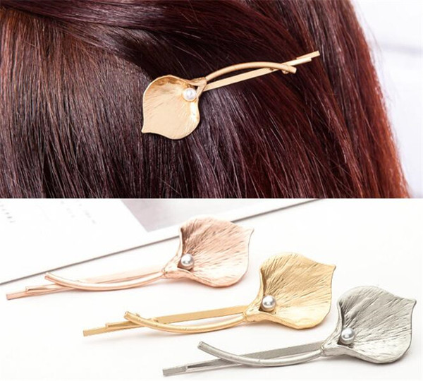 top popular 300pcs Metal Calla Lily Hair Clips Simple Imitation Pearl Alloy Flower Hair Pins Women Barrettes Accessories R239 2019