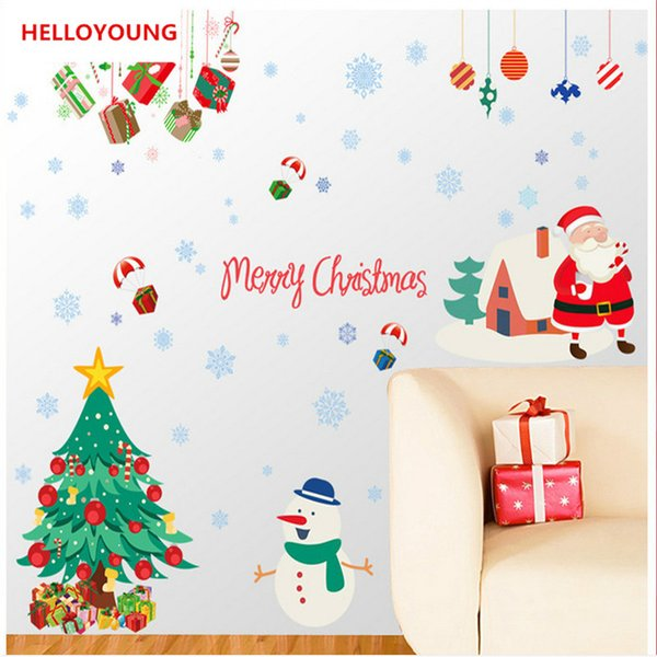 Creative Christmas Day decorations Wall Stickers Home Decorative Waterproof Wallpapers