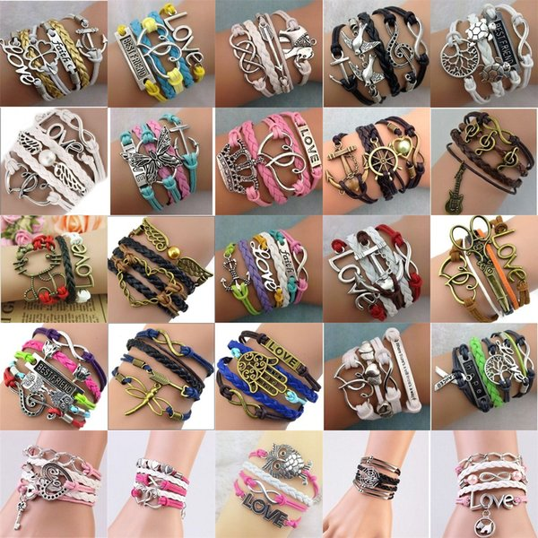 37Designs Tree of Life Love Owl Charm Bracelets Alloy Leather Braid Cord Strands Multilayers DIY Jewelry