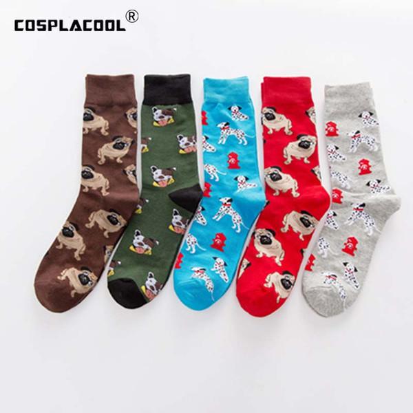 [COSPLACOOL] Tarzı Harajuku Pug Köpek Komik Mutlu Çorap Hip Hop Erkekler Calcetines Skarpetki Yaratıcı Erkekler Çorap Ekip Chaussette Hombre