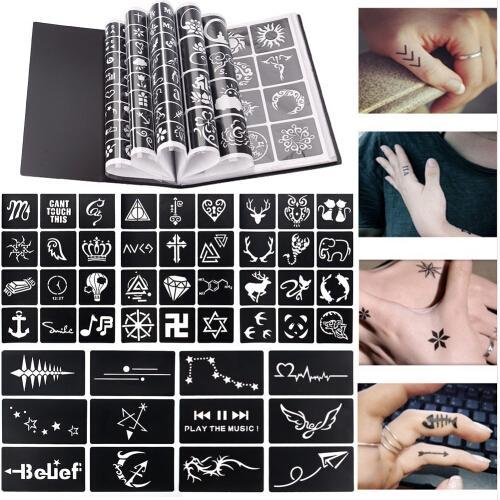 17 Sheet 264 Maps Professional Waterproof Henna Tattoo Templates Temporary Glitter Airbrush Tattoo Hand Finger Drawing