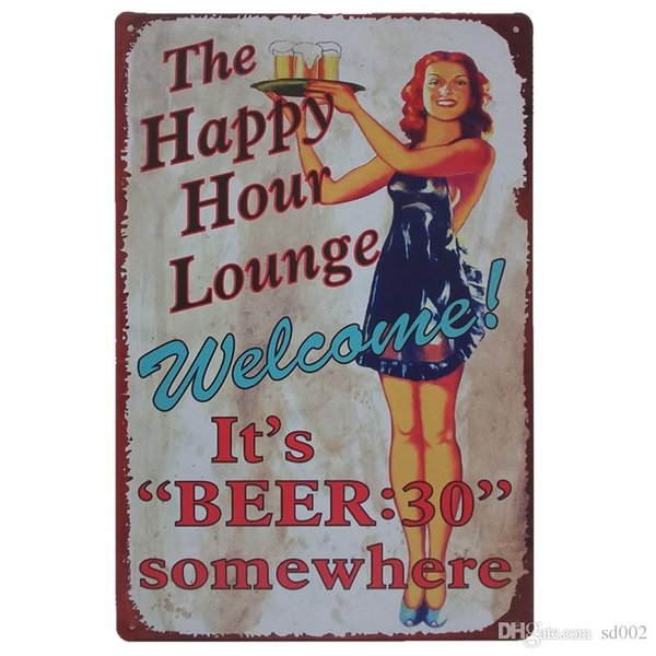 Beautiful Women Drinking Theme Iron Painting For Cafe Bar Hang Create Atmosphere Tins Sign Vintage Style Tins Poster 20*30cm Z