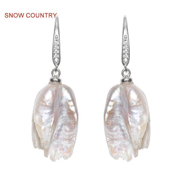Снег страна длинные серьги реальные атипичные Дикий пресноводный жемчуг высокий блеск стерлингового серебра для девушки Бесплатная доставка