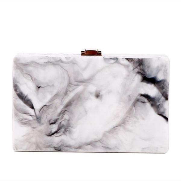 2017 Women Vintage Elegant Acrylic Clutch Lady Party Handbag Landscape Print Classic Casual Evening Bag Marble Color Ink Print