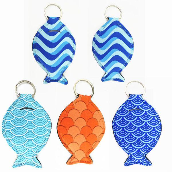 201809 Fat Fish Earphone Sets Neoprene Fish pattern keychains Key Rings For Kids & Adult Key Holder Random Color Send H772Q