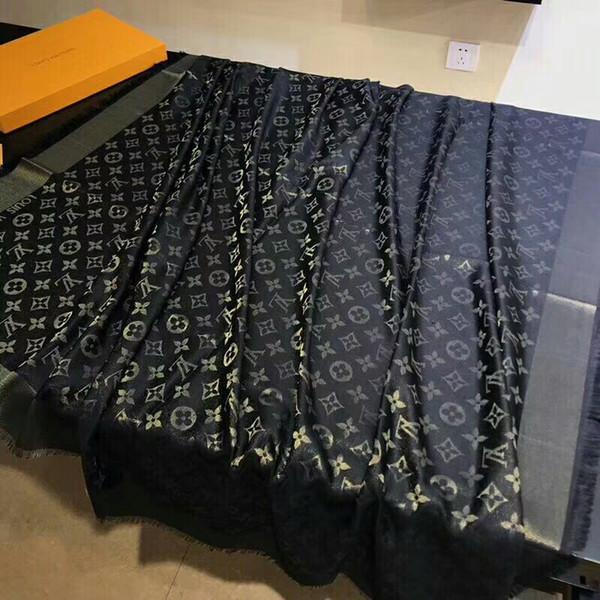 Klassische Marke Mode Paris Show Designer Schal Top Luxus goldenen Faden Wolle Textil Schal Frau Schal Schal 140cm