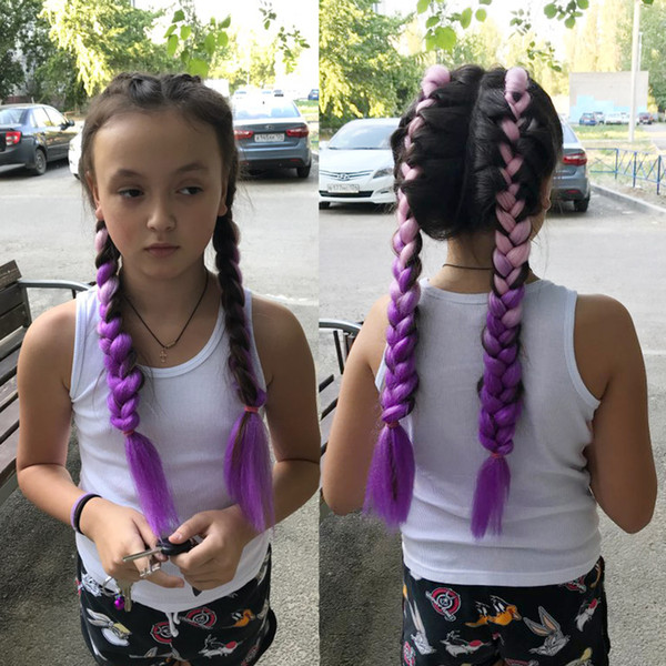 Ombre Rose Pourpre Synthétique Xpression Tressage Cheveux 24 pouces 100g / pack Jumbo Tresses Kanekalon Xpression Tressage Cheveux Crochet Tressage De Cheveux