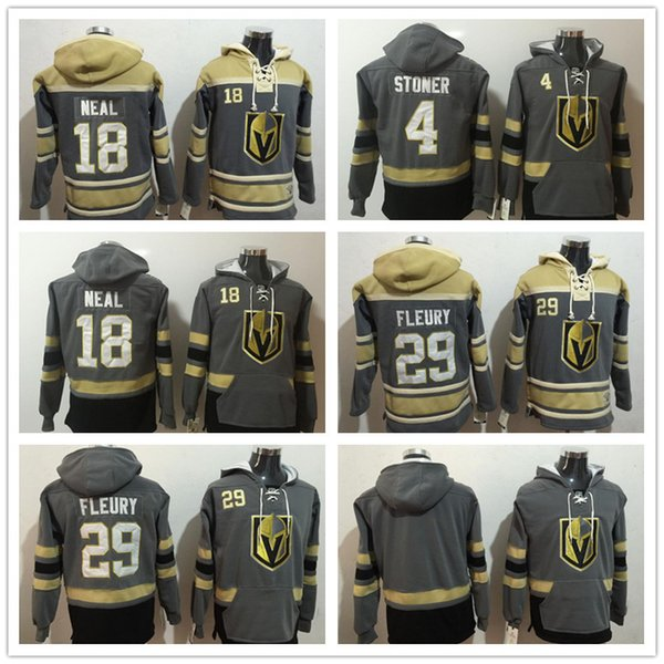 2018 Männer Sweatshirt Las Vegas Golden Knights 29 Marc-Andre Fleury 18 James Neal 4 Schwarz Stoner Blank Grey Yellow Hockey Hoodie Hochwertig