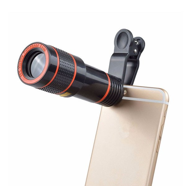 Telescope Lens 12x Zoom unniversal Optical Camera Telephoto len with clip for Iphone Samsung HTC Sony LG mobile smart cell phone