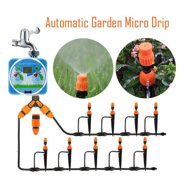 Micro Drip Timing Irrigation Kit Plants Garden Self Watering System Automatic Garden Hose Kits Connector DIY Adjustable Drip