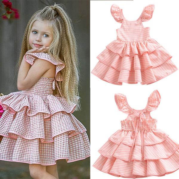 4e4ffc855244 2019 Baby Girl Dress Outfits Plaid Pattern Cute Summer Beach Backless Dress  Children Kids Cake Party Ball Gown Ruffle Pettiskirt From Kidsbaby02