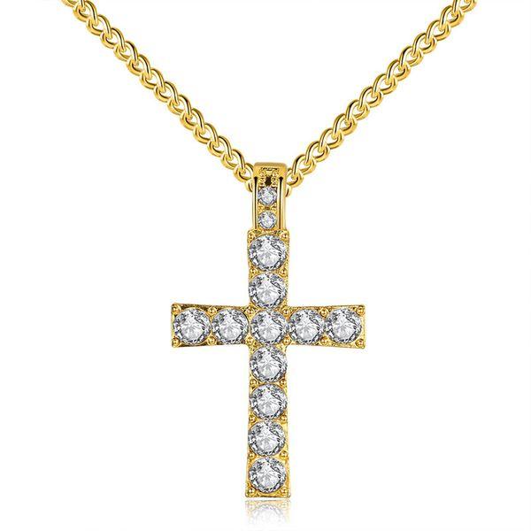 Christian Cross Crucifix Pendentifs Colliers Punk 18K Or Jaune Plaqué Zircon CZ Hiphop Mens Longue Chaîne Collier Bijoux