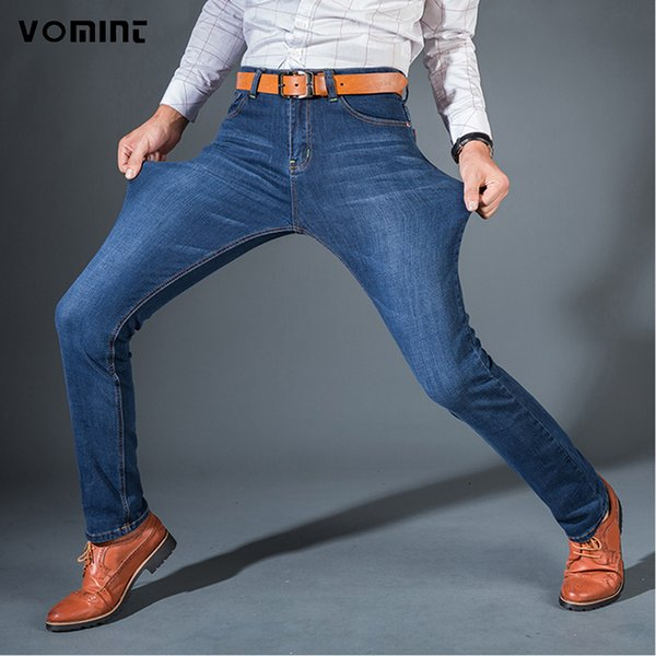 Vomint Men's Jeans High Stretch Fashion Black Blue Denim Brand Men Slim Fit Jeans Size 30 32 34 35 36 38 40 42 Pants Jean S913