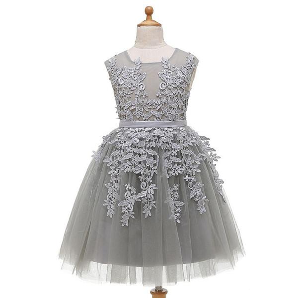 Gümüş Gri Bir Çizgi Çiçek Kız Elbise Cupcake Yeni Kanat Toddler Kat Uzunluk Düğün Törenlerinde Sheer Aplikler Bebek Moda Gerçek Resim