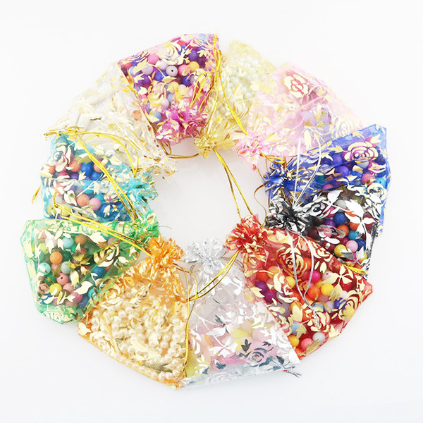 100pcs/lot 7*9cm 9*12cm Brozing Floral Oganza Bags With Drawstring Gift Wraps 10Colors Jewelry Collection Pouches for Party Wedding