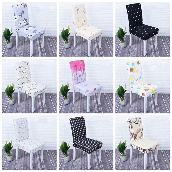 Removable Chair Cover Big Elastic Slipcover Flower Modern Kitchen Seat Case Wedding Restaurant Hotel Office Chair Cover