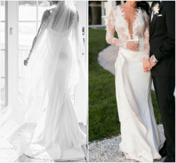 Mermaid Wedding Gowns for Bride Plunging V-Neck Illusion Long Sleeves Backless Lace Satin Bridal Dresses Sexy Customize