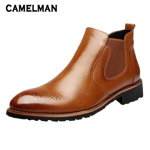 Compre 2018 Moda Para Hombre Botas Altas Botas Chelsea Botas De Cuero Para Caballero Zapatos Estilo Casual De Calle Zapatos Cómodos Con Punta De Tacón