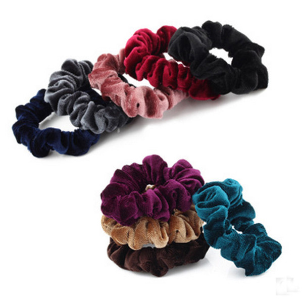 Hot 2 Pcs/Pack Women Scrunchy Hair Rope Useful Donut Elastic Scrunchie Hairband Ponytail Holder Hair Flannel Headdress Headwear