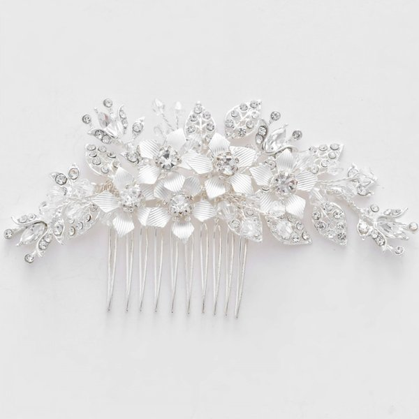 Charming Silver Flower Headpiece For Bride Rhinestone Wedding Hair Comb Accessories Handmade Women Prom Hair Jewelry