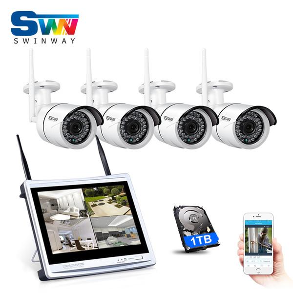 P2P Plug-and-Play 4CH 12-Zoll-LCD-Monitor Wireless NVR-Sicherheit CCTV-System 960P HD WIFI IP-Kamera für den Außenbereich IR-Überwachungskits 1TB HDD