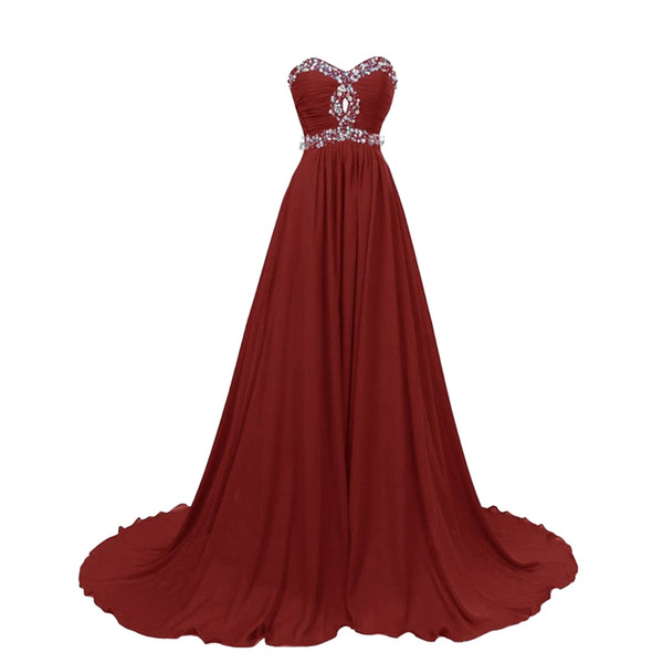 Eren Jossie hot sale sweetheart beaded evening chiffon gown a-line style sweep train special occasion dress