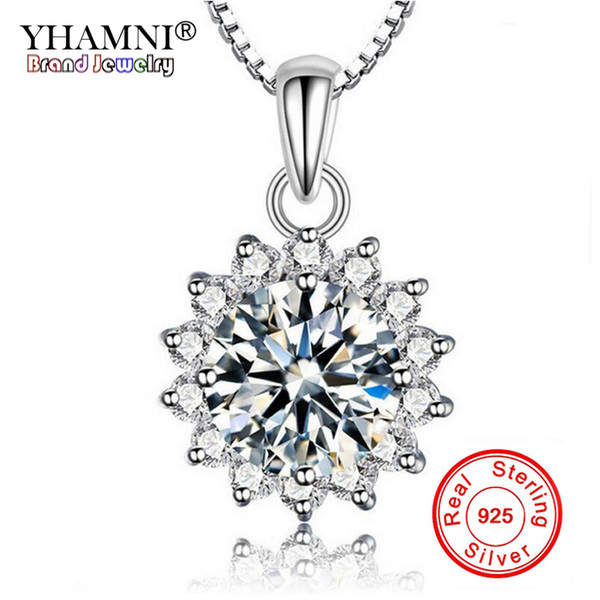 035ea78f0 YHAMNI Fashion Solitaire Sunflower Pendant Necklace Women 925 Sterling  Silver Chain Crystal Rhinestone Flower Necklace TP001