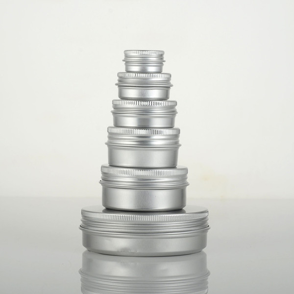 10g/15g/20g/30g/50g refillable empty round aluminum metal tin cans bottle with lids , cosmetic cream container box aluminum jar