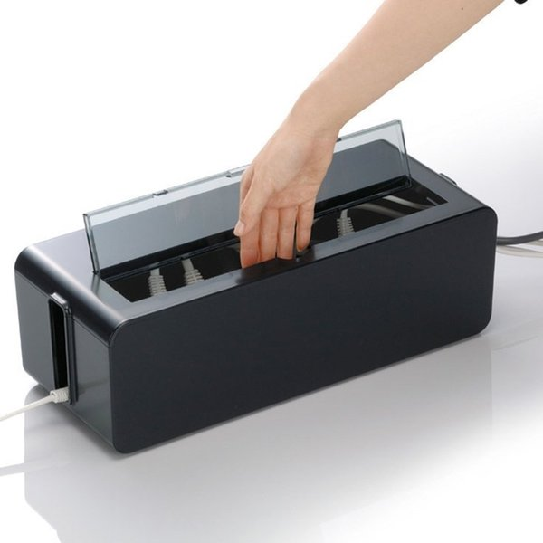 Black Plastic Safety Socket Outlet Board storage box with Skylit Outlet Board Container Cables Electric Wire management case