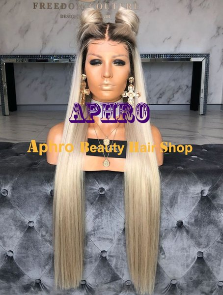 Glueless Silky Straight Platinum Blonde 5x5 Silk Base Lace Front Wigs With Dark Roots European Human hair Full Lace Blonde Long Wigs
