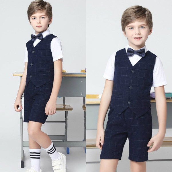 Two Pieces Formal Boys Clothing Summer Damier Check Boy Suits Short Pants + Vest With Three Pockets