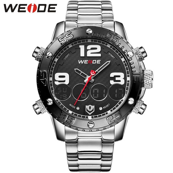 WEIDE Men' s Sports Quartz Watch Analog Digital 3ATM Waterproof Alarm Hot Sale Military Watches Male Clock Free Shipping