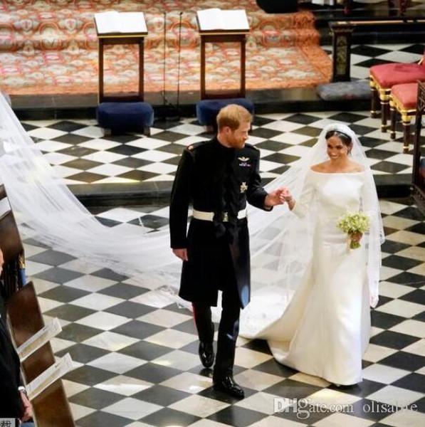 New Arrival 2018 Prince Harry & Meghan Markle Wedding Dresses Bateau Neck Vintage Long Sleeves Wedding Dress Sweep Train Bridal Gowns