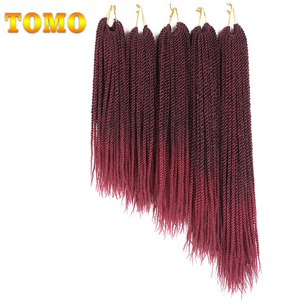 """best selling TOMO Hair Products 30Strands Pack 14"""" 16"""" 18"""" 20"""" 22"""" Crochet Braids Senegalese Twist Braiding Hair Extensions Ombre Burgundy Synthetic Hair"""