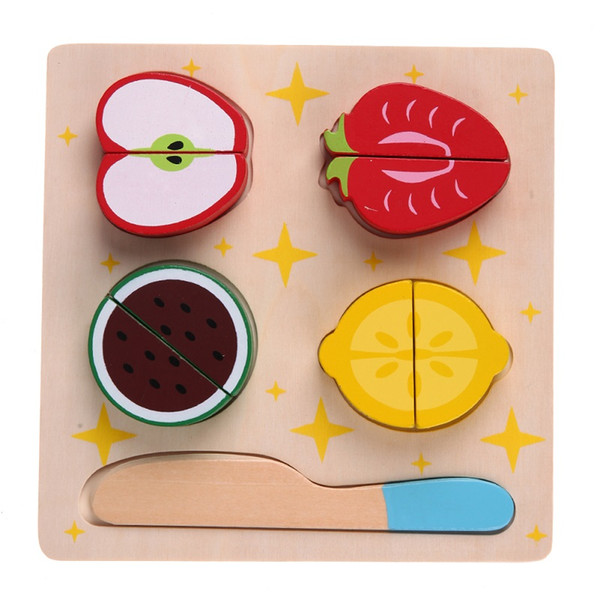 best selling Wooden Kitchen Cut Fruits Vegetables Dessert Food Pretend Play Cooking Food Pretend Play Puzzle Educational Toy for Children