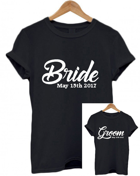 Details zu Bride and Groom Personalised T-Shirts Matching Set, Wedding date, gift Honeymoon Funny free shipping Unisex Casual tee gift