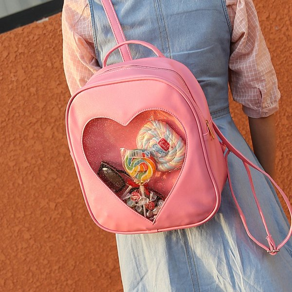 Summer Candy Transparent Love Heart Shape Backpacks Harajuku School Backpack Shoulder Bags For Teenager Girls Book bag 6 style 2018 good