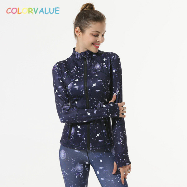 Colorvalue Flexible Printed Yoga Fitness Jacket Women Mandarin Collar Sport Outwear Slim Fit Long Sleeve Jersey with Thumb Holes
