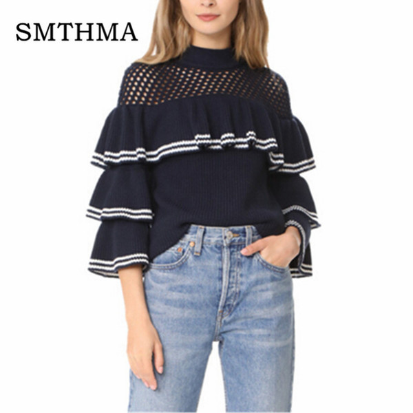 smthma 2018 runway women pullovers self portrait cutout ruffles frill layers butterfly sleeve thick knit sweaters