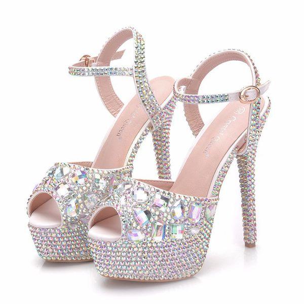 Nouveau été blanc boucle peep toe chaussures pour femmes