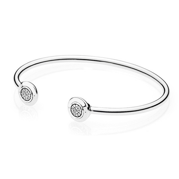 Authentische 925 Sterling Silber Manschette Armreif für Frauen Marke Logo passen Pandora Charm Beads Silber Armband DIY Schmuck Geschenk