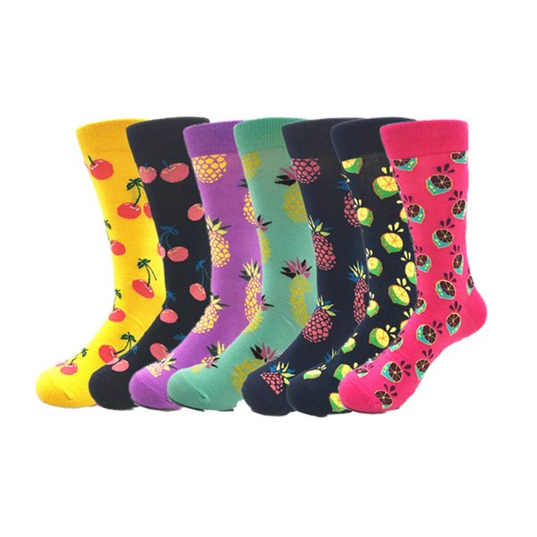 2018Warm colorful Men Happy Socks Quality Combed Cotton Men compression sock Autumn Winter Crew Casual Fruit Cartoon Funny Socks