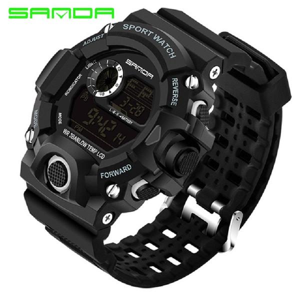2018 SANDA Fashion Sports Digital Watch Men Diving Sport LED Clock for Men Waterproof Geneva Watches Relojes hombre 326