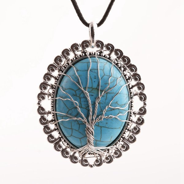 Vintage Tree Of Life Wire Wrapped Copper Teardrop Natural Turquoise Gemstones Chakra Pendant Necklace With Flower Pendant Charms