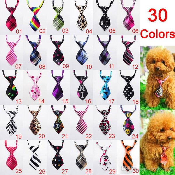 Pet Dog Necktie kid Neckties Adjustable Handsome Bow Ties Necktie Grooming Supplies Christmas Gift 30 colors in stock fast DHL