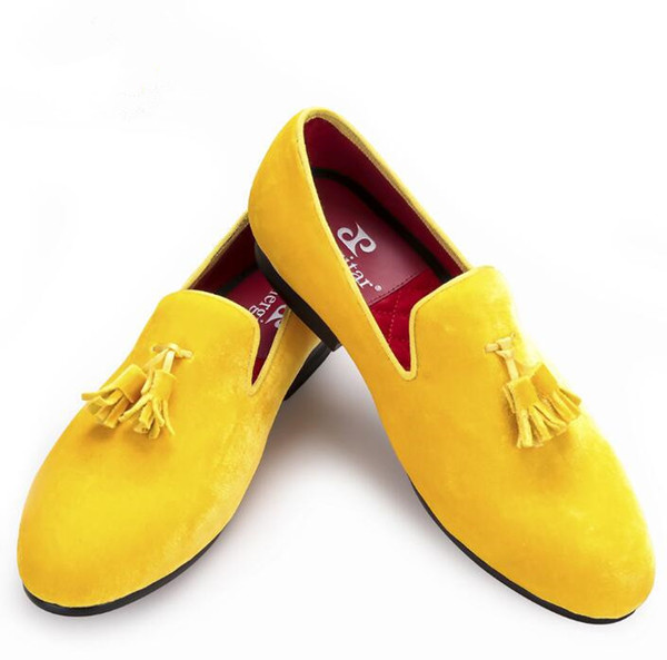 Promotion Yellow Velvet Tassel Men Dress Wedding Shoes For Events Round Toe Leather Lining Free Shipping US Size 7-14
