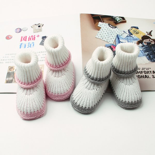 Newborn Baby Shoes Toddler Wool Knitted Floor Shoes Baby First Walkers Stockings Long Tube Warm Crocheted Winter Boots Baptism