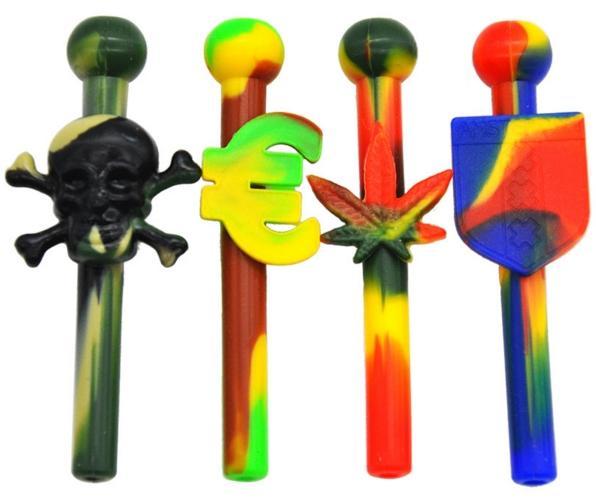Schädel-Silikon-Schnupftabak-Stroh-Schnüffler-Schnörkel-Nasenrohr-Rohr-Rohr-Schnüffler nasal für Pfeife-Schnüffler-Tabak-Rohre