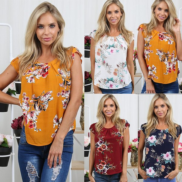 2018 New Spring Summer Sexy Fashion Women Floral Print Butterfly Sleeve Crop Tops O Neck Tank Chiffon T Shirt Clothes Size S-XXL